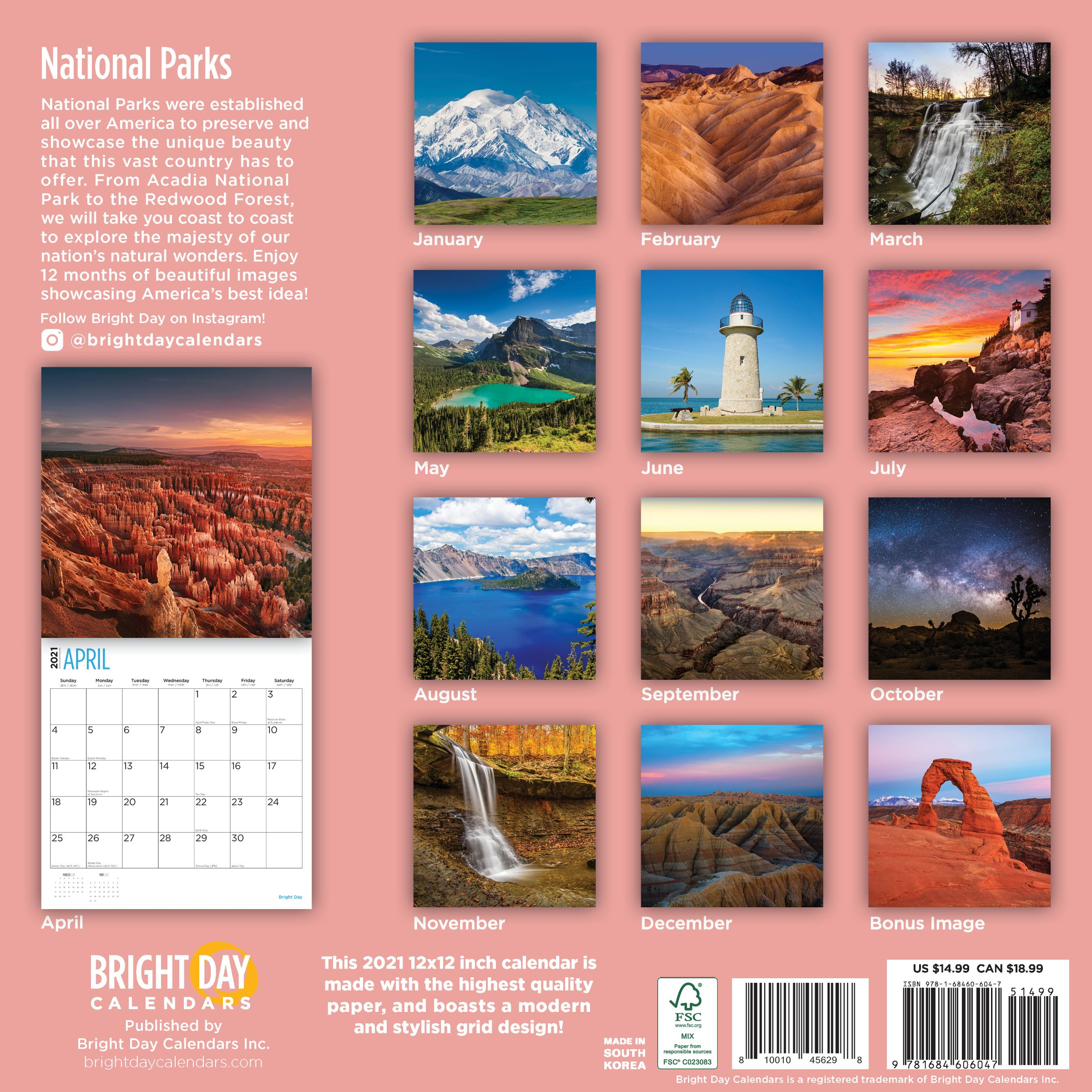 2021 National Parks Wall Calendar  Bright Day Calendars with regard to National Food Calendar 2021
