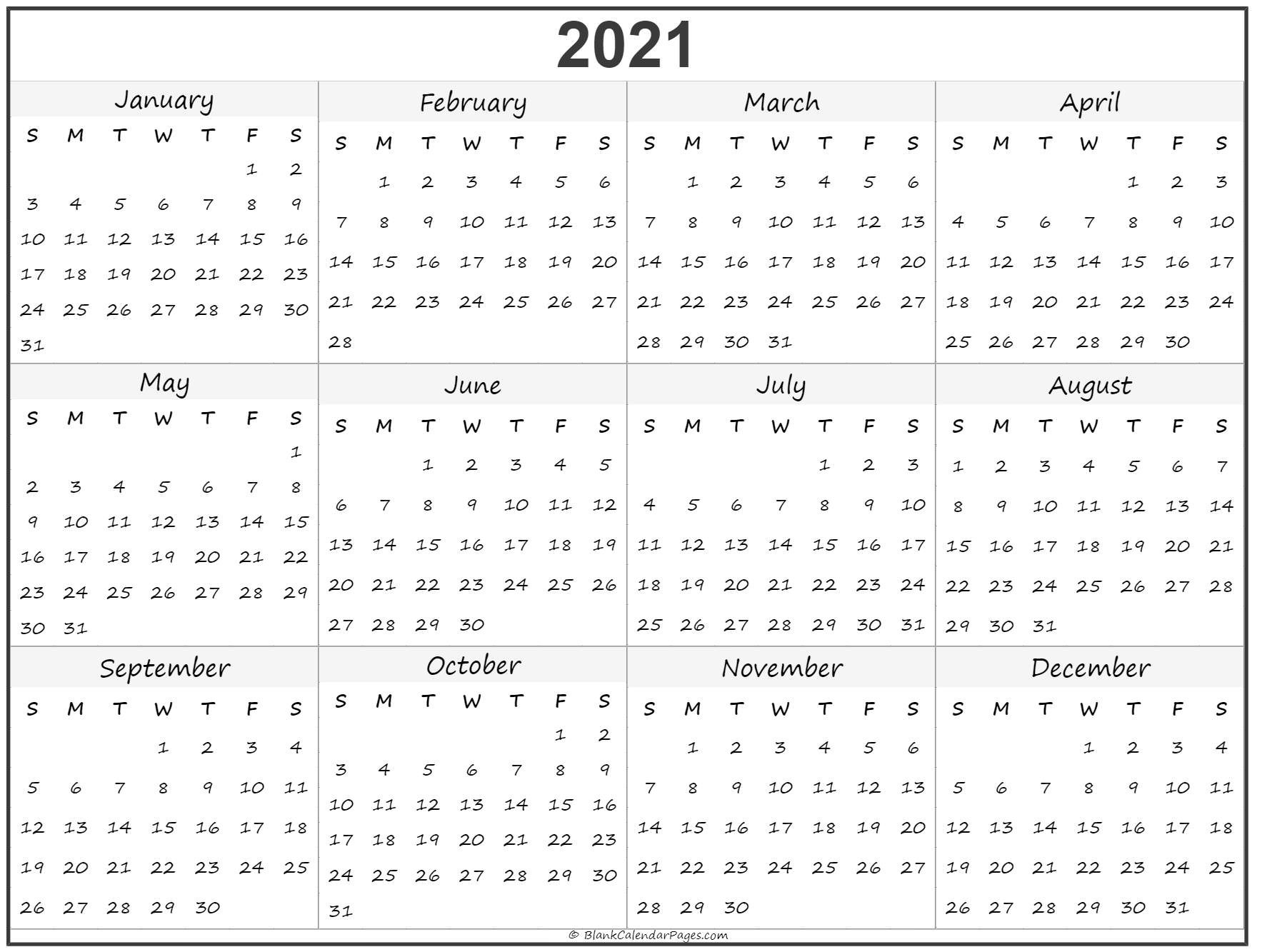 2021 Year Calendar | Yearly Printable for 2021 3 Month Monthly Printable Calendars