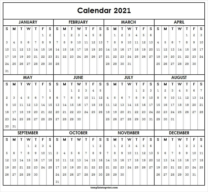 2021 Yearly Calendar One Page  Printable 2021 Calendar inside Printable 3 Months At A Time Calendar 2021