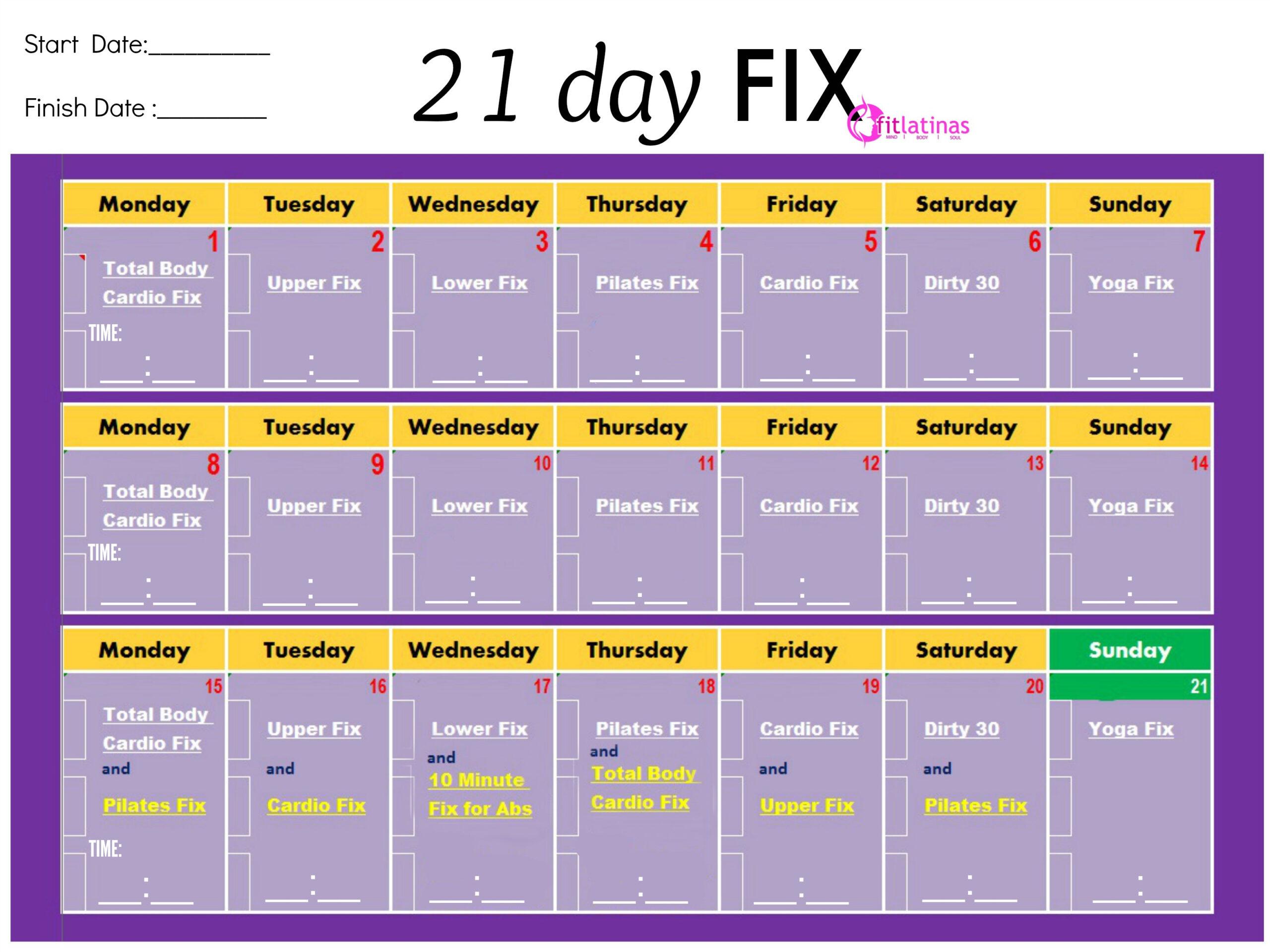 21 Day Fix Calendar  Calendar Yearly Printable with Piyo 21 Day Fix Hybrid Calendar