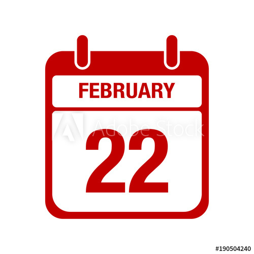 """""""22 February Calendar Red Icon. Twenty Two"""" Stock Image in Calendar Icon Red"""