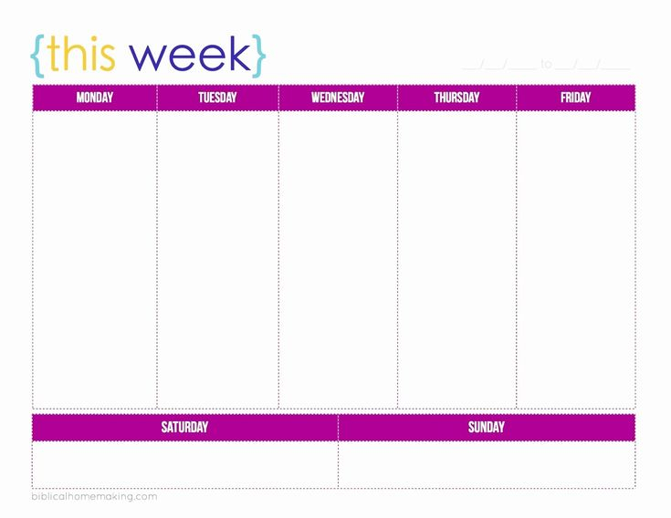24 7 Day Calendar Template In 2020 | Weekly Planner Template within 7 Day Calendar Template