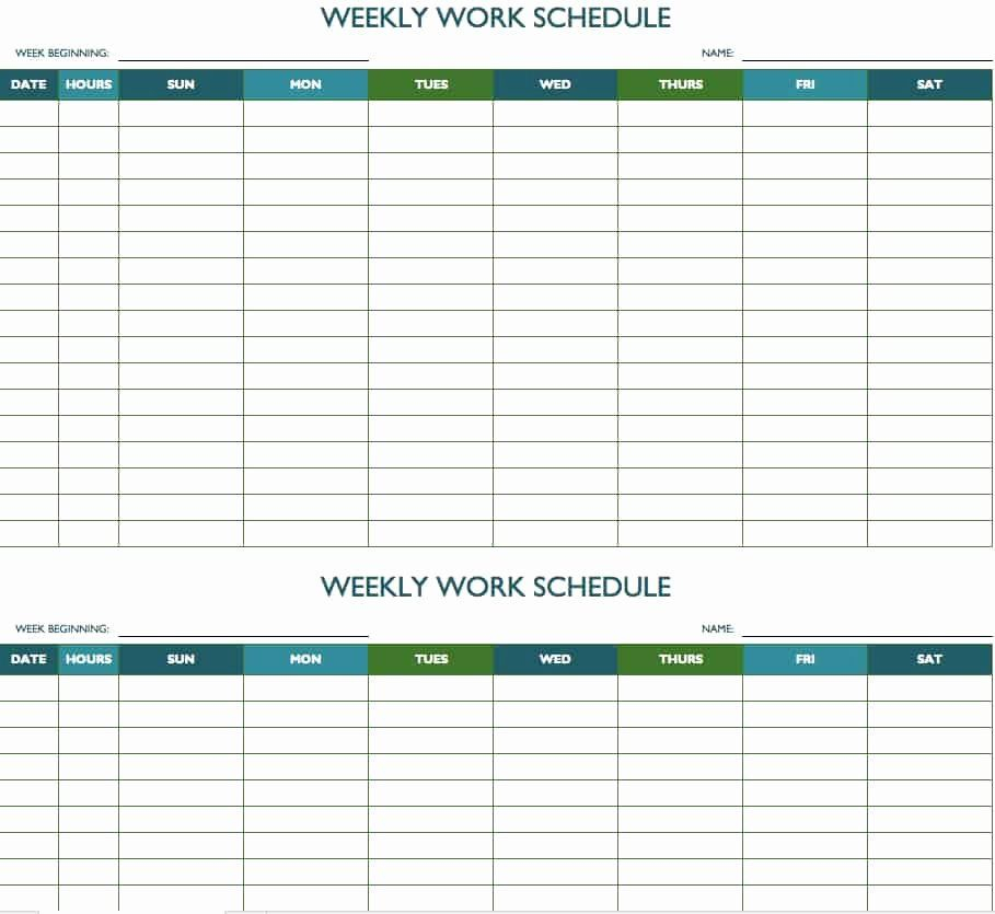 24 Weekly Employee Schedule Template Excel In 2020 inside Excel Week Calendar Template