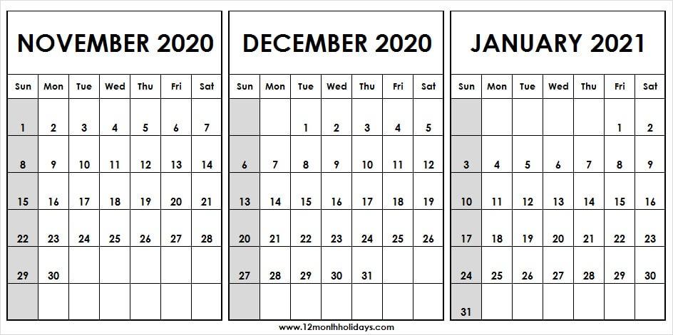 3 Month Calendar November December 2020 January 2021 | To inside Printable 3 Months At A Time Calendar 2021