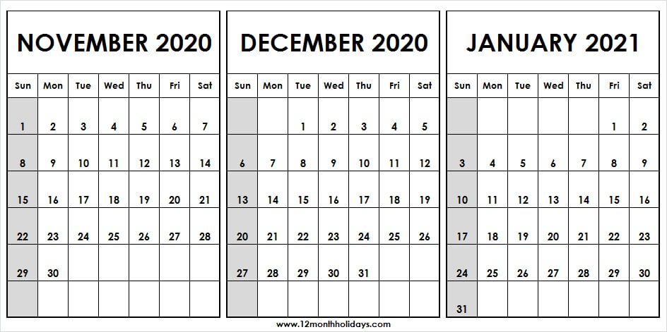 3 Month Calendar November December 2020 January 2021 | To with regard to 2021 3 Month Monthly Printable Calendars
