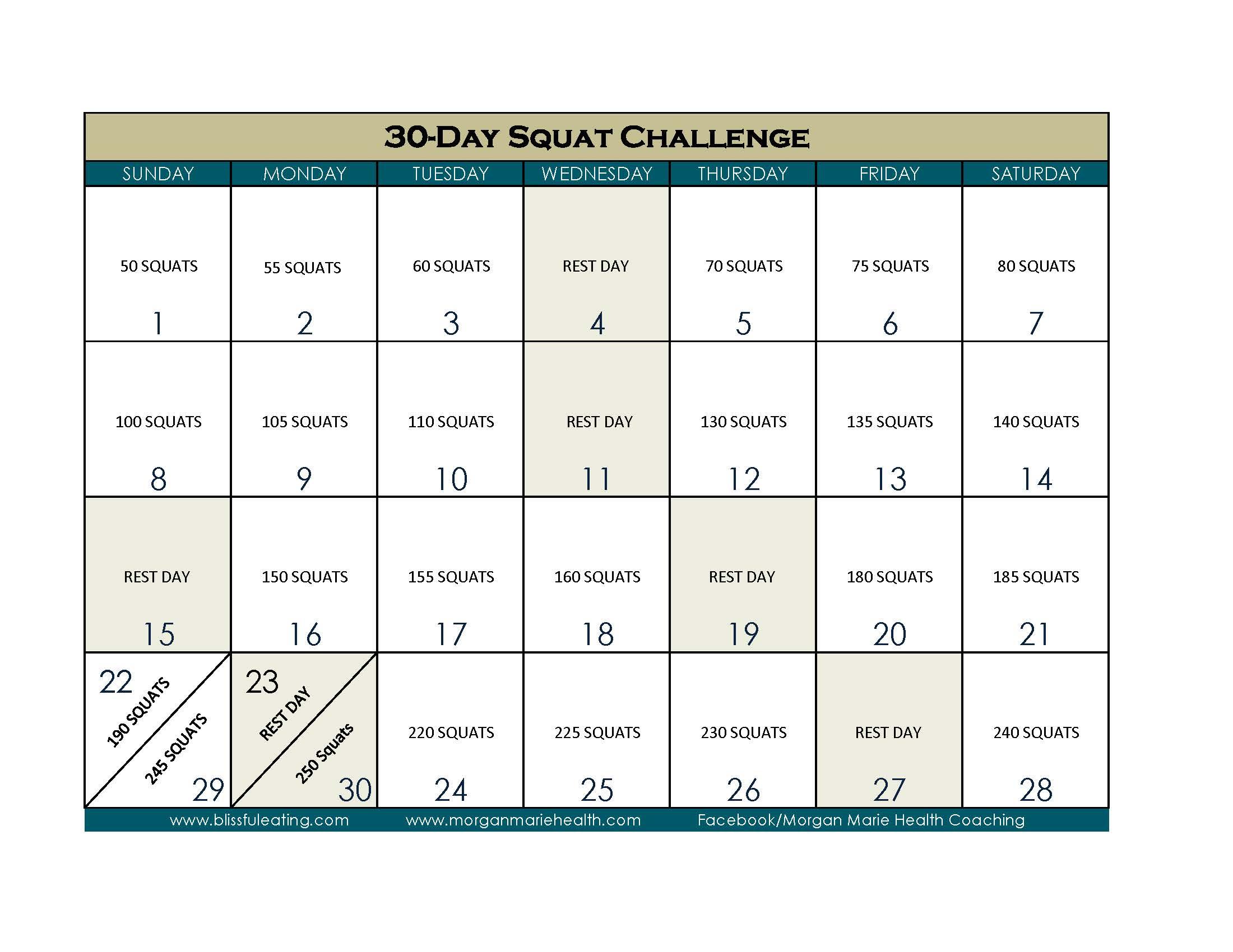 30 Days Squat Challenge Calendar   Printable Calendar 2020 in 30 Day Calendar Template