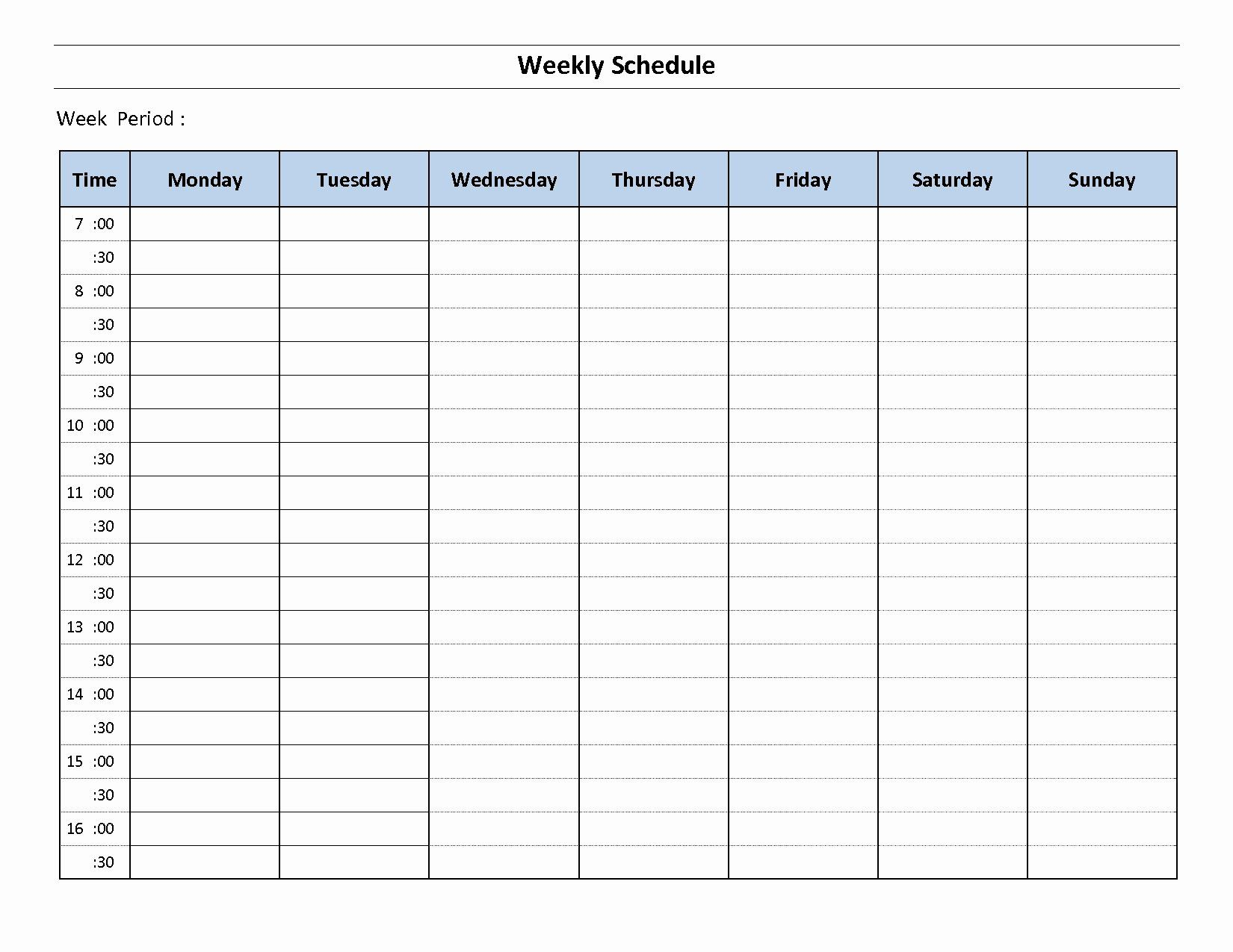 30 Monday Through Sunday Schedule Template In 2020 inside Sunday To Saturday Week Calendar