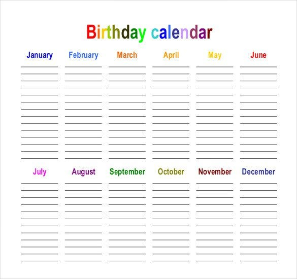 43+ Birthday Calendar Templates  Psd, Pdf, Excel | Free with regard to Birthday Calendar Template For Classroom