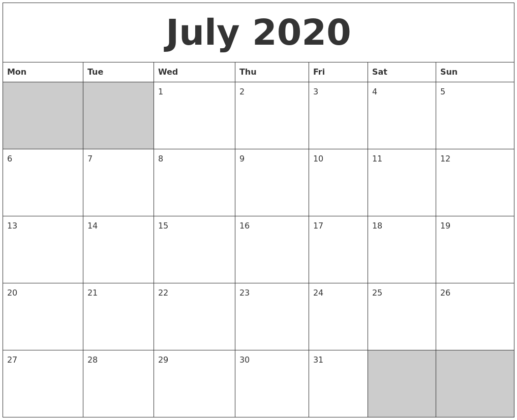 5 Day Calander Template July 2020 | Example Calendar Printable with 5 Day Calendar Template Word