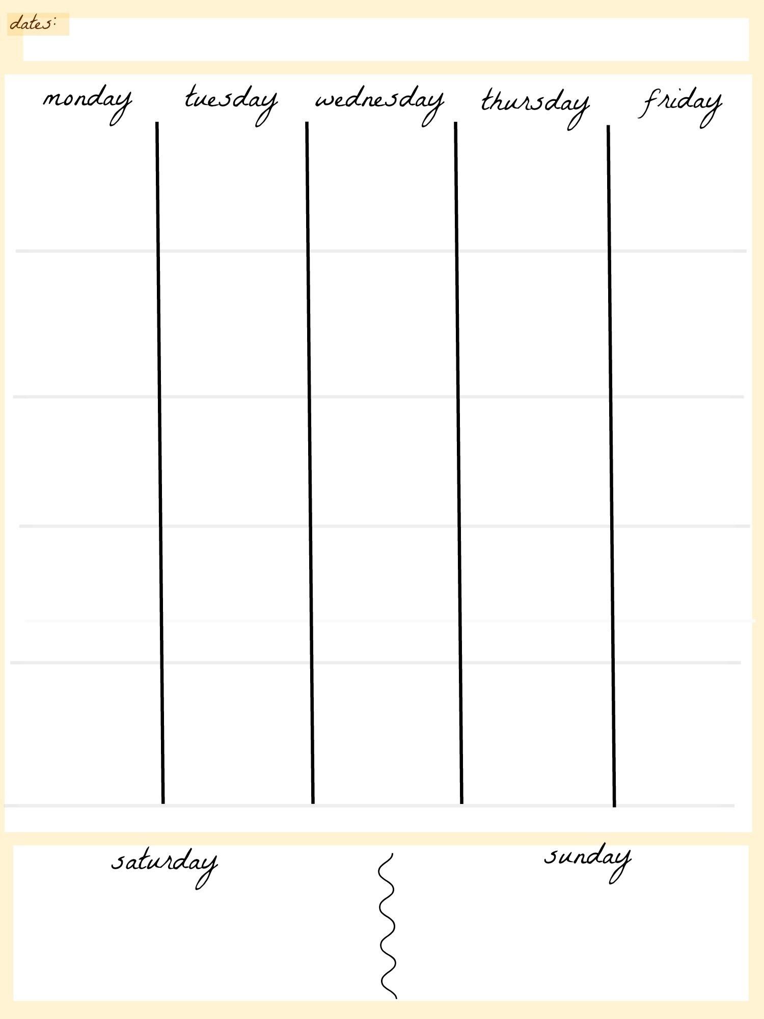 5 Day Week Calendar Templates | Calendar Template Printable with regard to 5 Day Week Calendar Template