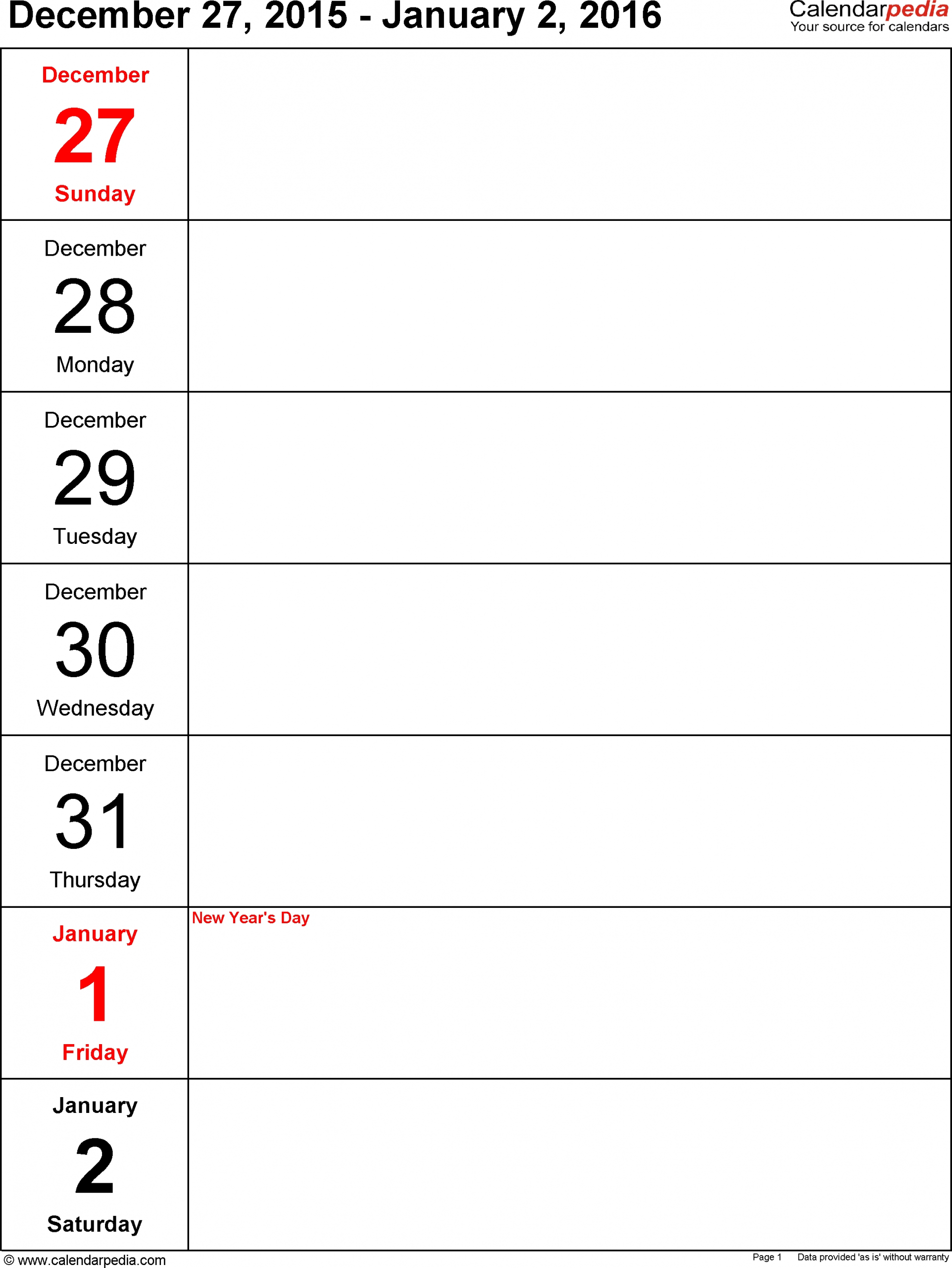 5 Day Weekly Calendar Printable | Printable Calendar in 5 Day Calendar Template Word