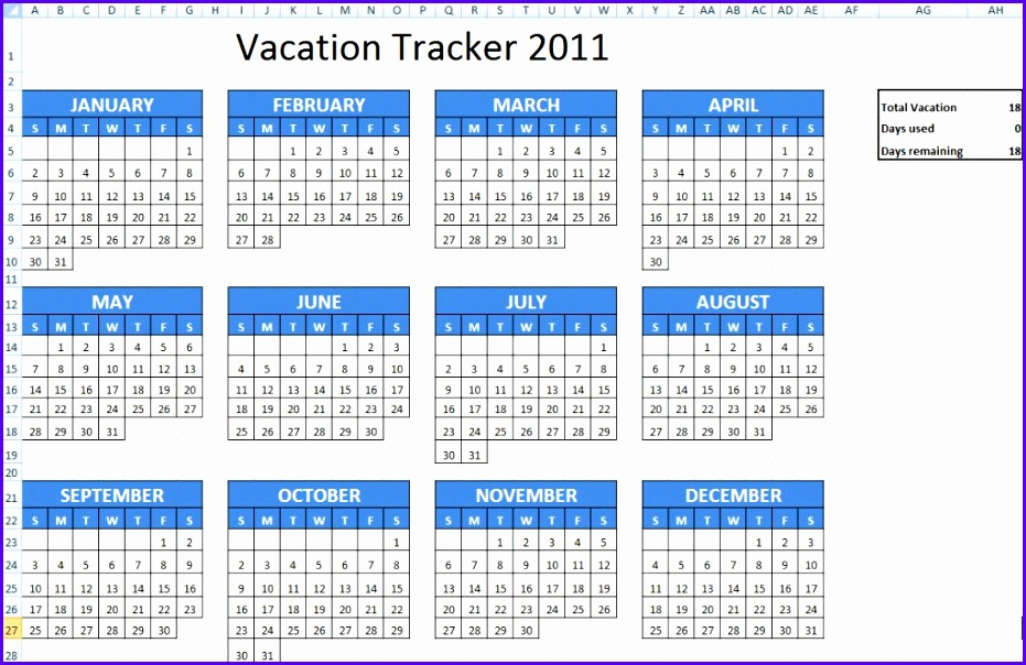 5 Vacation Schedule Template Excel  Excel Templates pertaining to Vacation Tracking Calendar