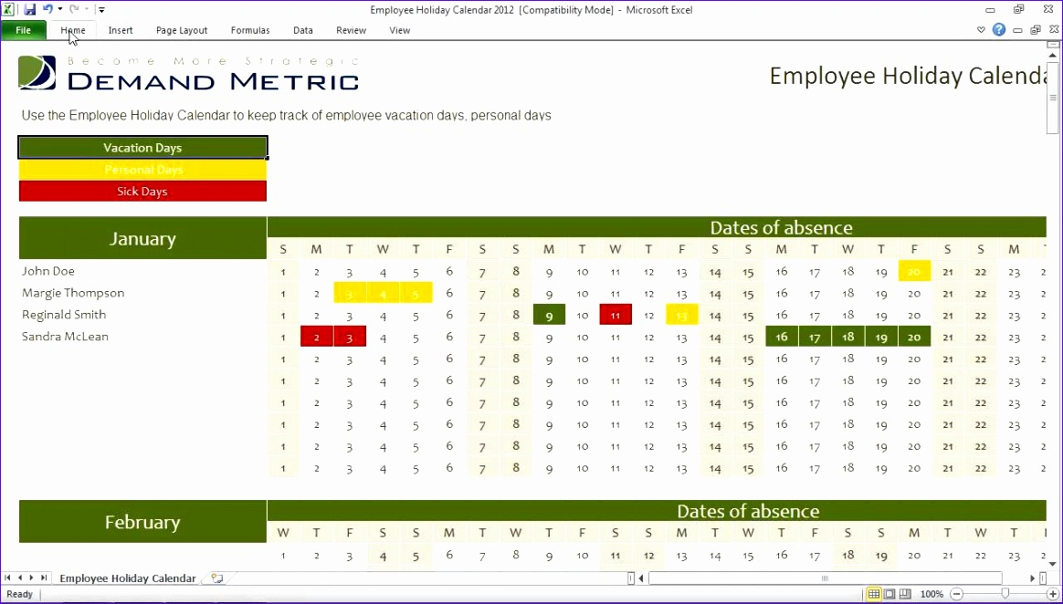6 Excel Sheet Design Templates  Excel Templates  Excel regarding Employee Vacation Calendar Excel