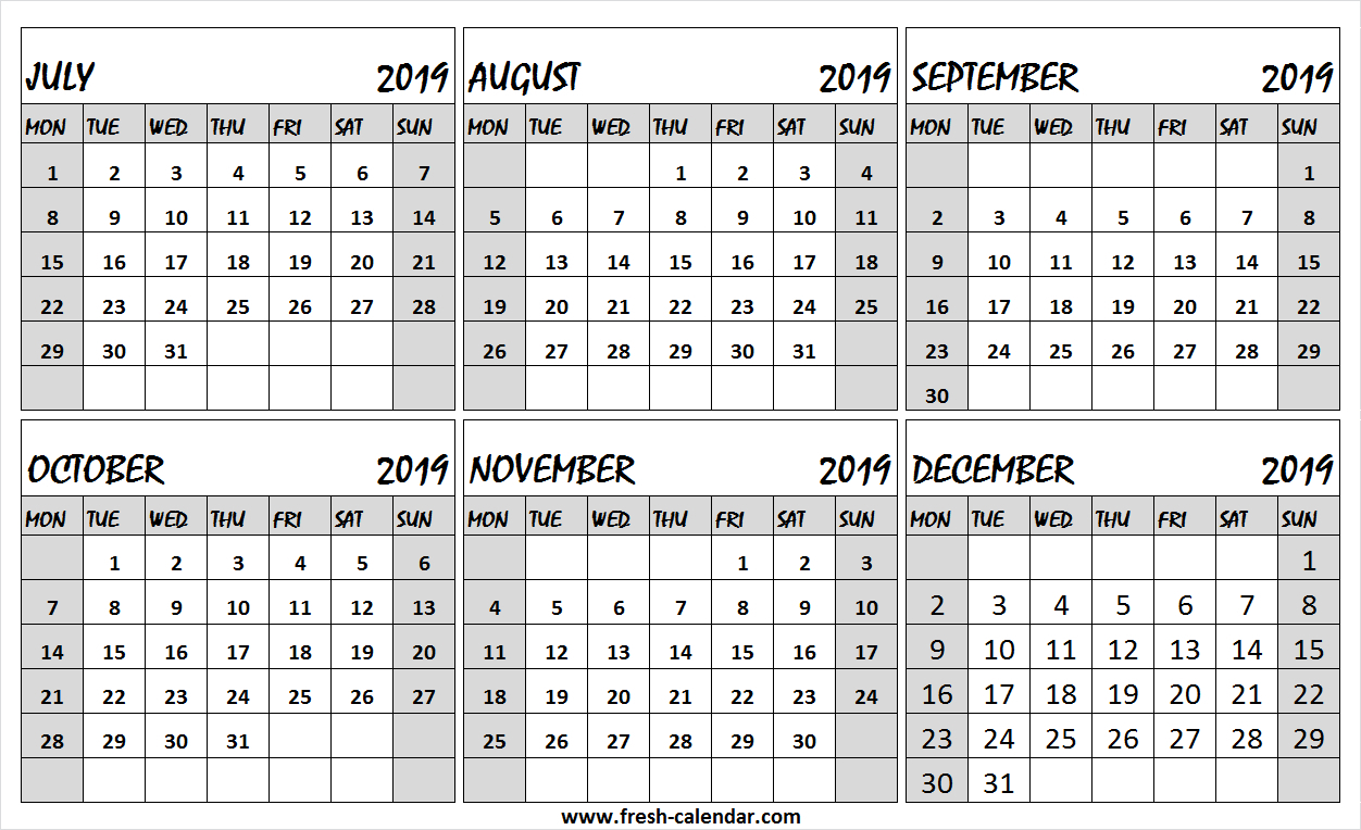 6 Month Calendar 2019 Julydecember | Example Calendar with 6 Month Printable Calendar