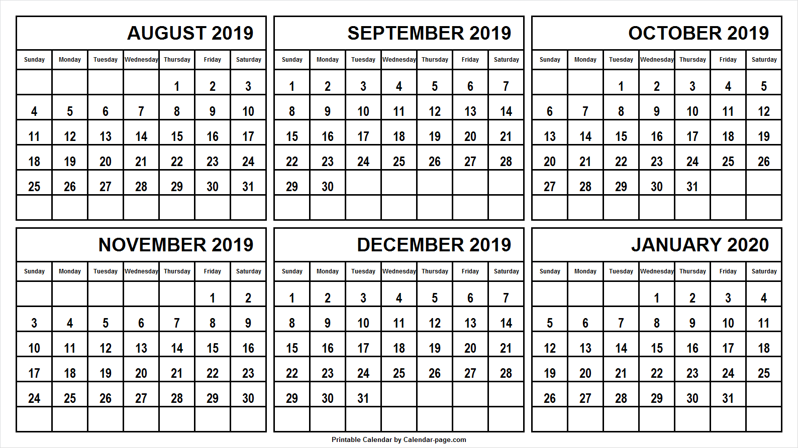 6 Month Calendar August 2019 January 2020 | August within 6 Month Printable Calendar