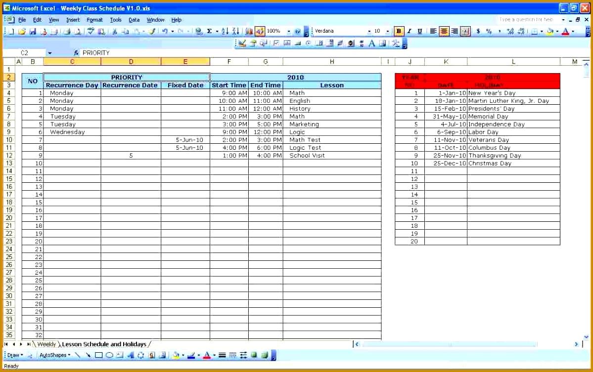 6 Weekly Schedule Template | Fabtemplatez pertaining to Weekly Class Schedule Template