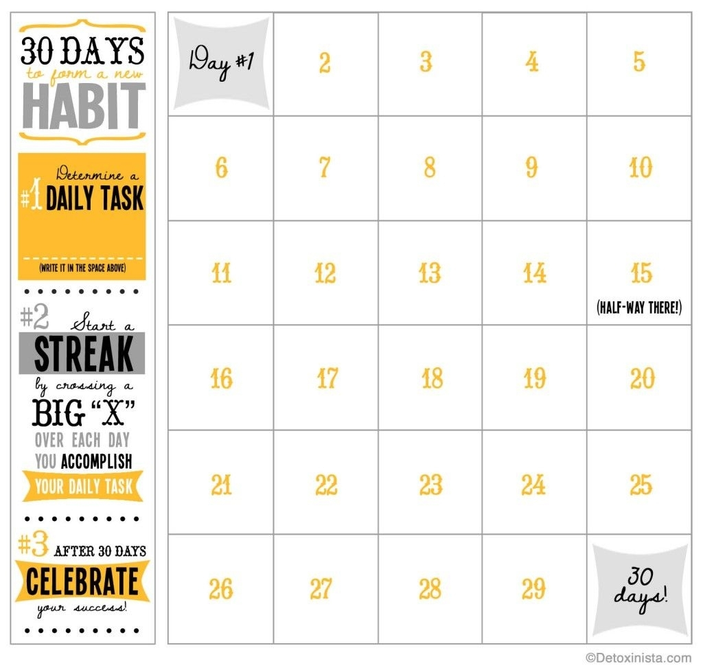 60 Days Challenge Template Calender  Calendar Inspiration throughout 30 Day Calendar Template