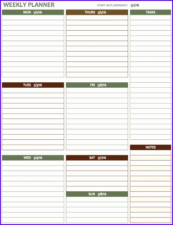 8 Excel Week Calendar Template  Excel Templates  Excel in Excel Week Calendar Template