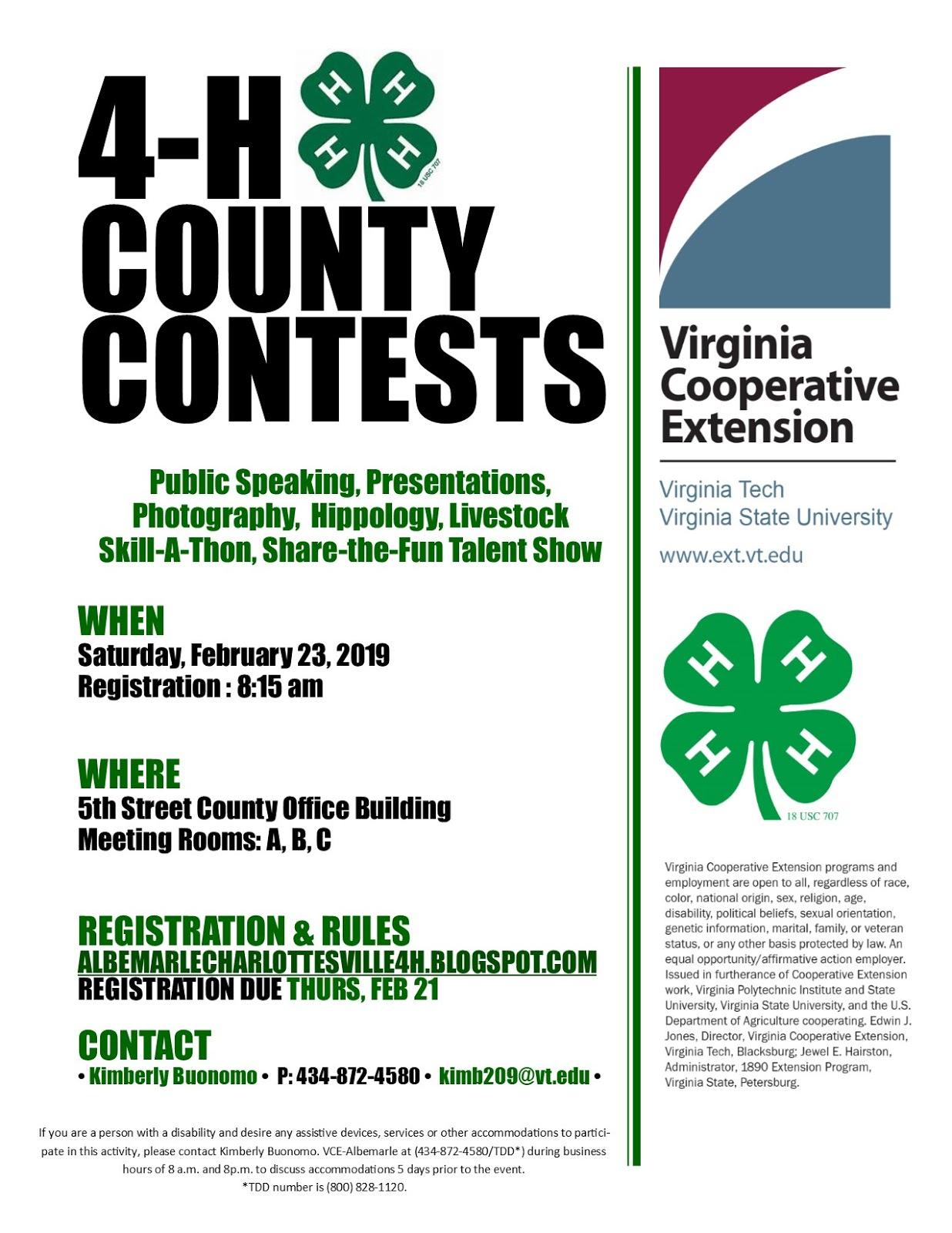 Albemarlecharlottesville 4H: County Contest Day within Albemarle County School Calendar