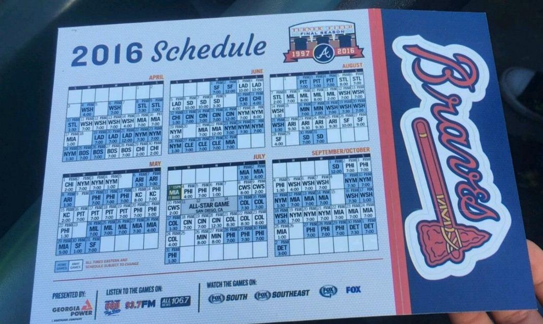April 89, 2016 Atlanta Braves  Magnetic Schedule throughout Atlanta Braves Schedule Calendar