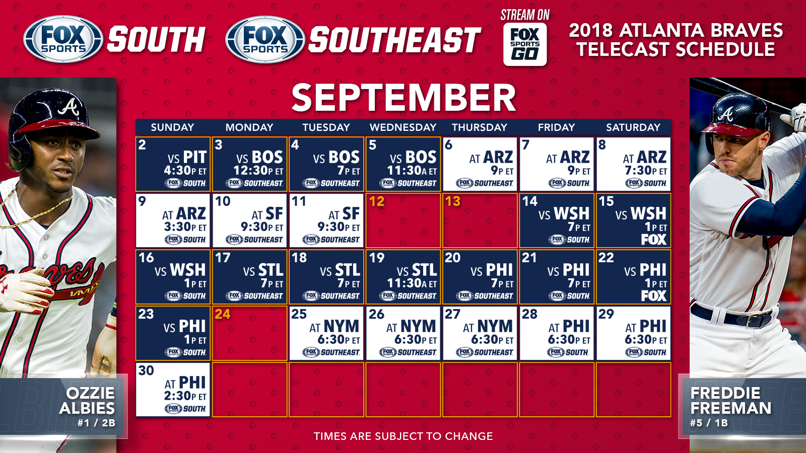Atlanta Braves Tv Schedule: Septemberoctober | Fox Sports regarding Atlanta Braves Schedule Calendar