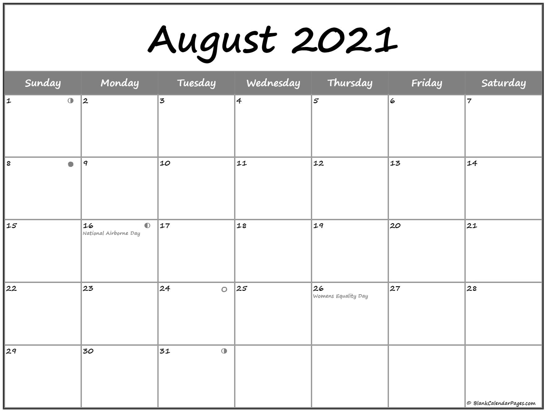 August 2021 Lunar Calendar | Moon Phase Calendar for Free Calendar Template August 2021