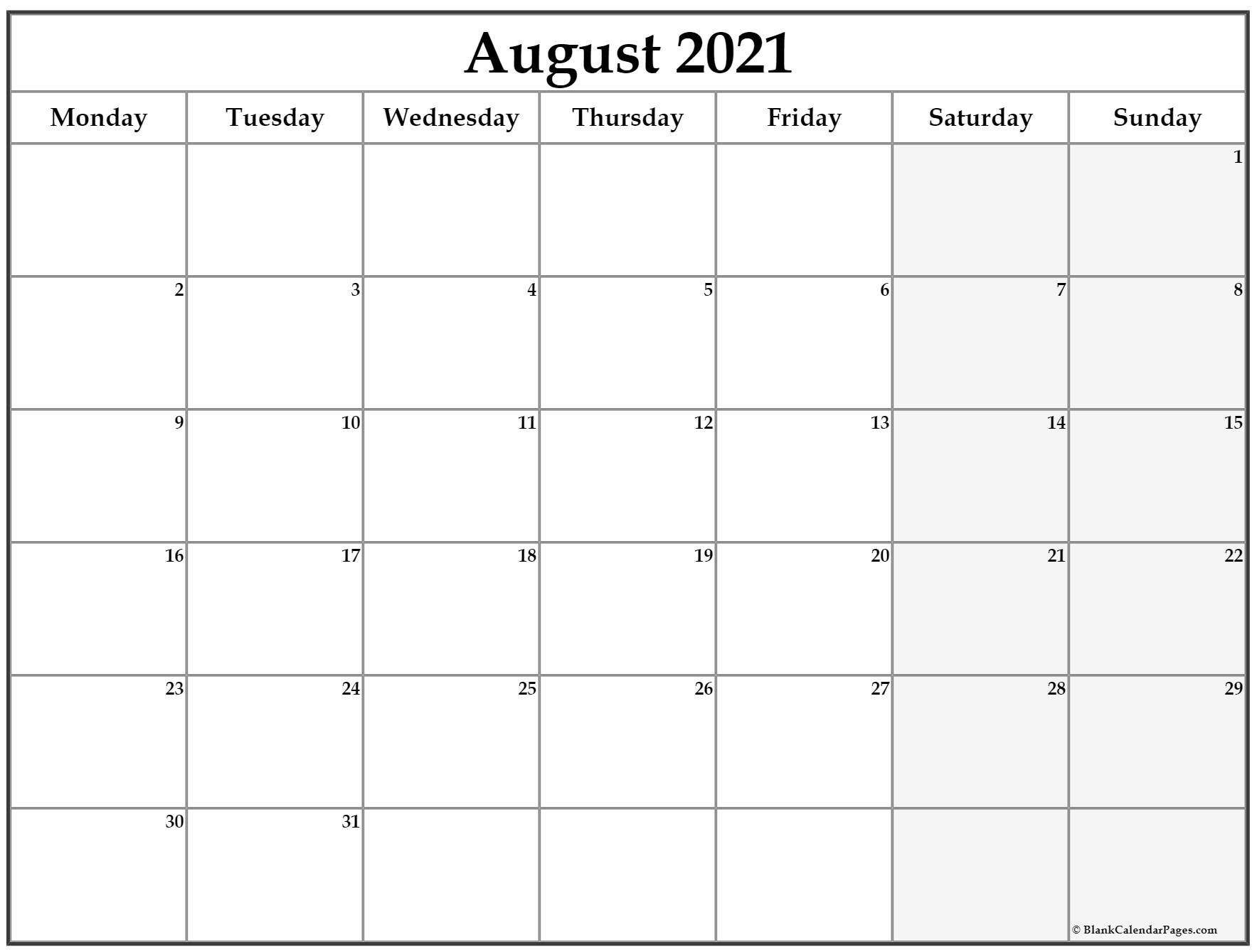 August 2021 Monday Calendar | Monday To Sunday inside Free Calendar Template August 2021