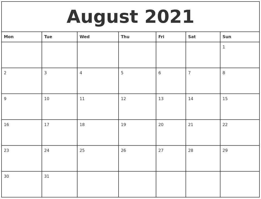 August 2021 Printable Monthly Calendar with regard to Free Calendar Template August 2021