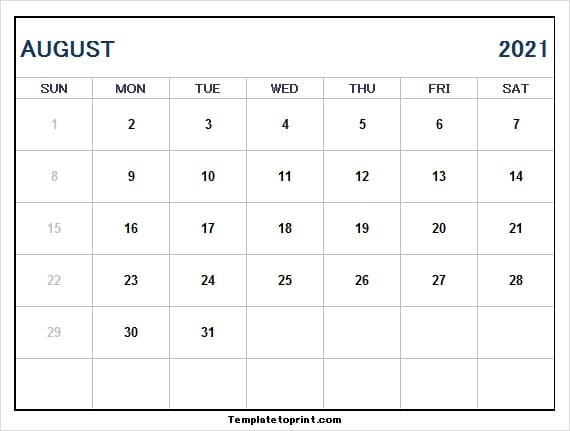 August Calendar 2021 Png | 2021 Calendar Free Printable with regard to Free Calendar Template August 2021