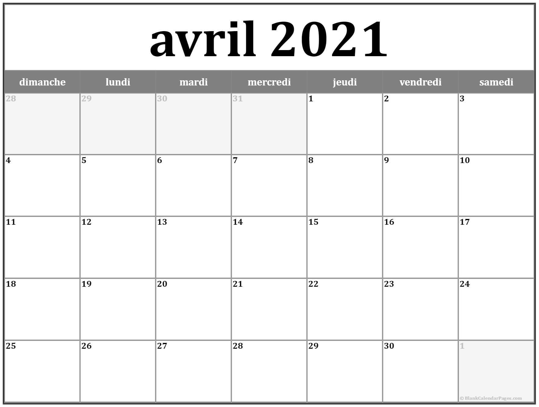 Avril 2021 Calendrier Imprimable | Calendrier Gratuit within Calendrier À Imprimer 2021