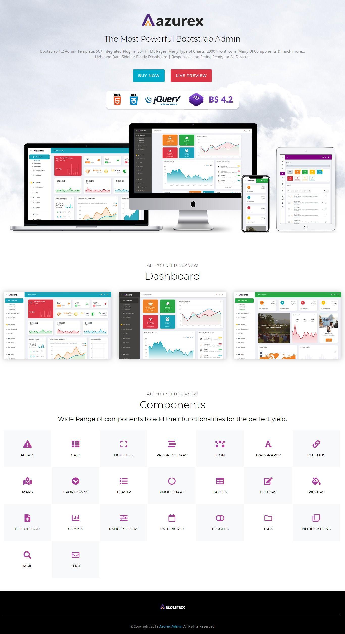 "Azurex  Bootstrap 4 Admin Dashboard Template | Dashboard with regard to Dashkit €"" Admin & Dashboard Template Dark/Light"