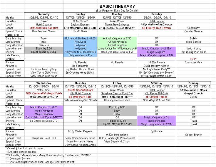 Basic 2019 December Disney World Itinerary inside Walt Disney World Itinerary Template