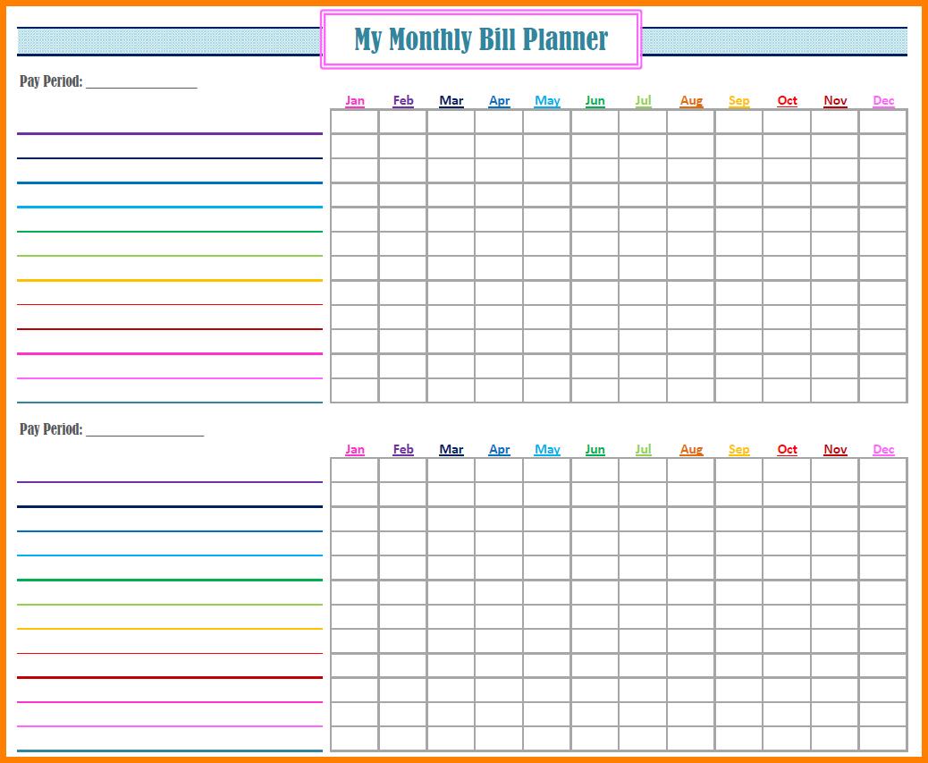Bill Organizer Spreadsheet In Free Bill Organizer regarding Bill Organizer Printable