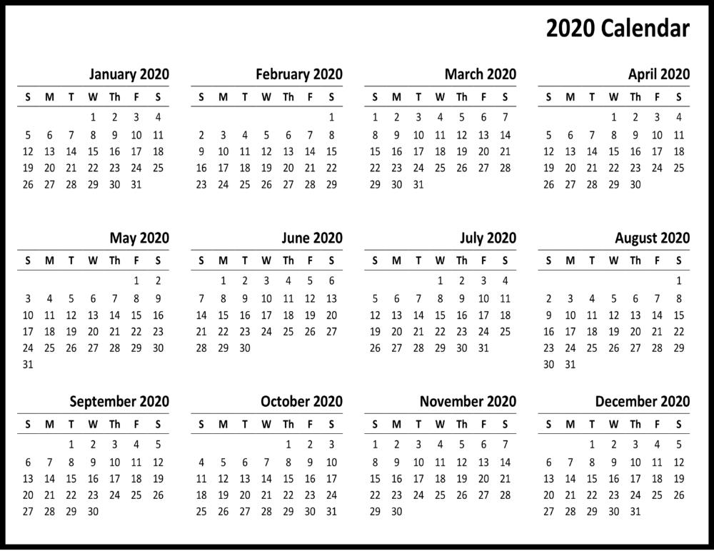 Blank Calendar 2020 Monthly Printable | 12 Month Printable pertaining to Blank 12 Month Calendar