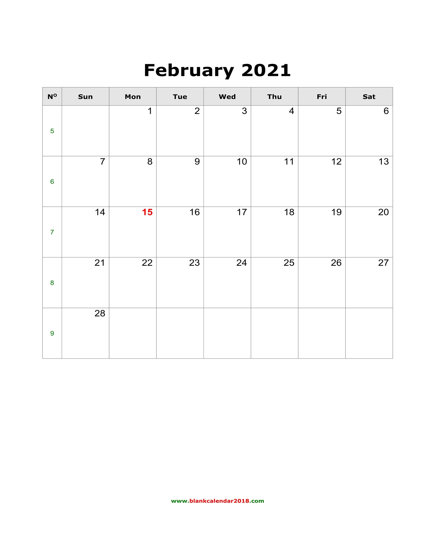 Blank Calendar For February 2021 inside Blank Monthly Calendar Portrait