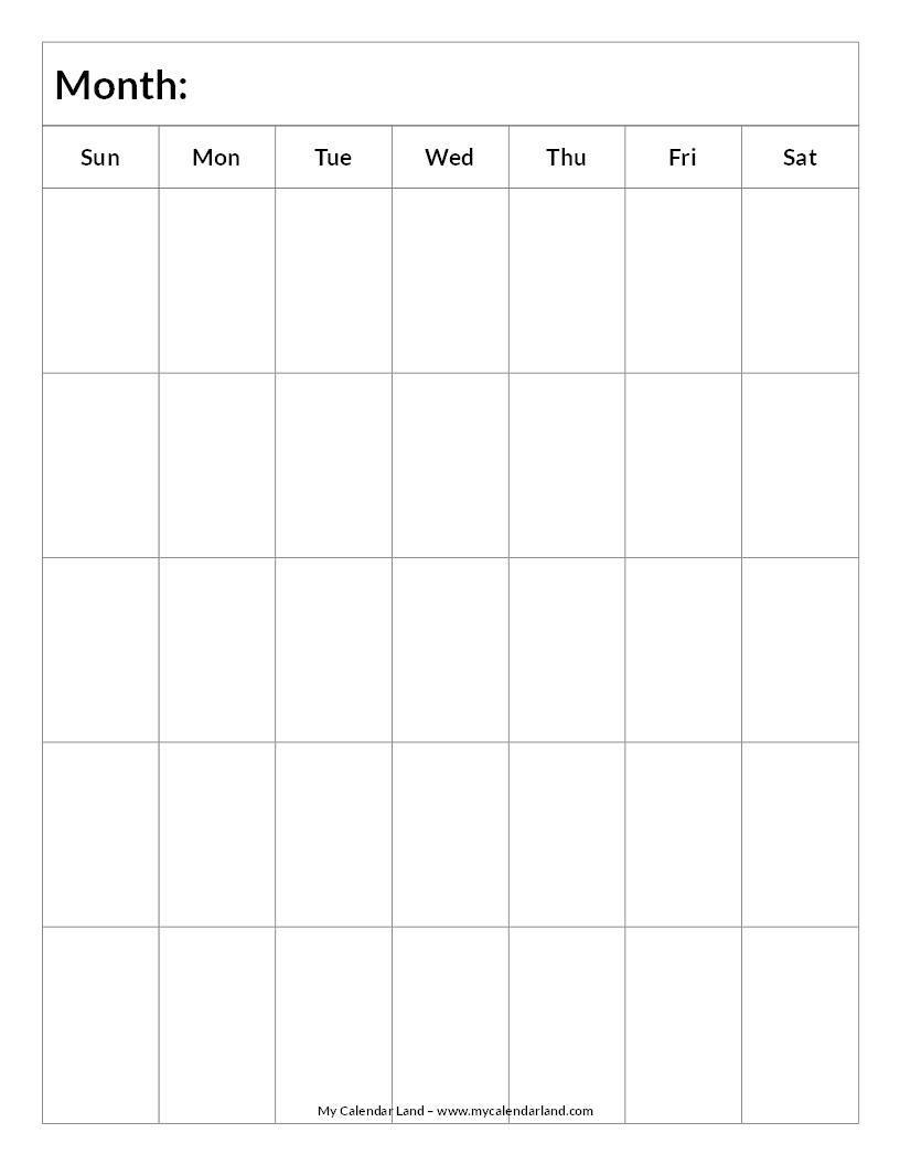 Blank Calendar Printable  My Calendar Land in Calendar To Fill In