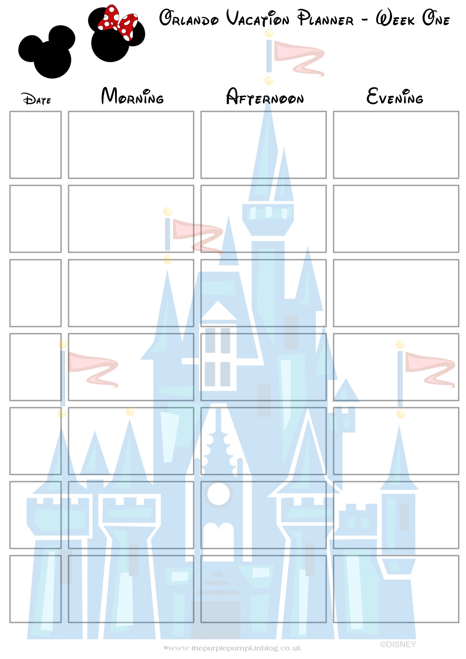 Blank Disney Itinerary Template   Example Calendar Printable in Walt Disney World Itinerary Template