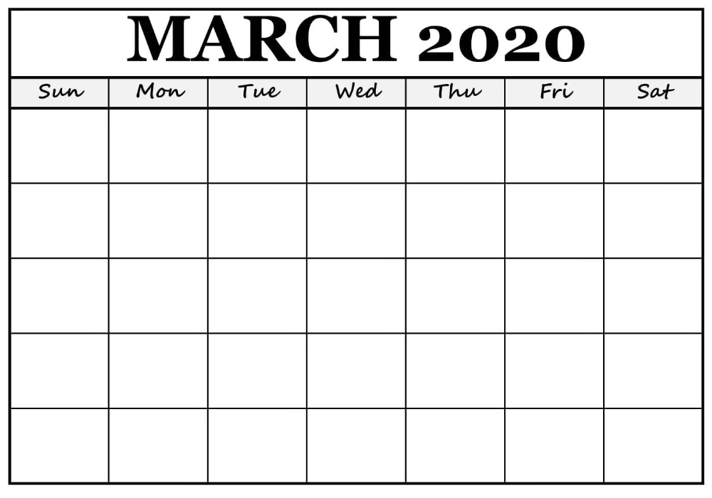 Blank March 2020 Calendar Printable Monthly | 12 Month within Blank 12 Month Calendar