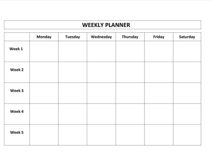 Blank Monday Through Friday Template   Calendar Template pertaining to Printable Monday Through Friday Calendar