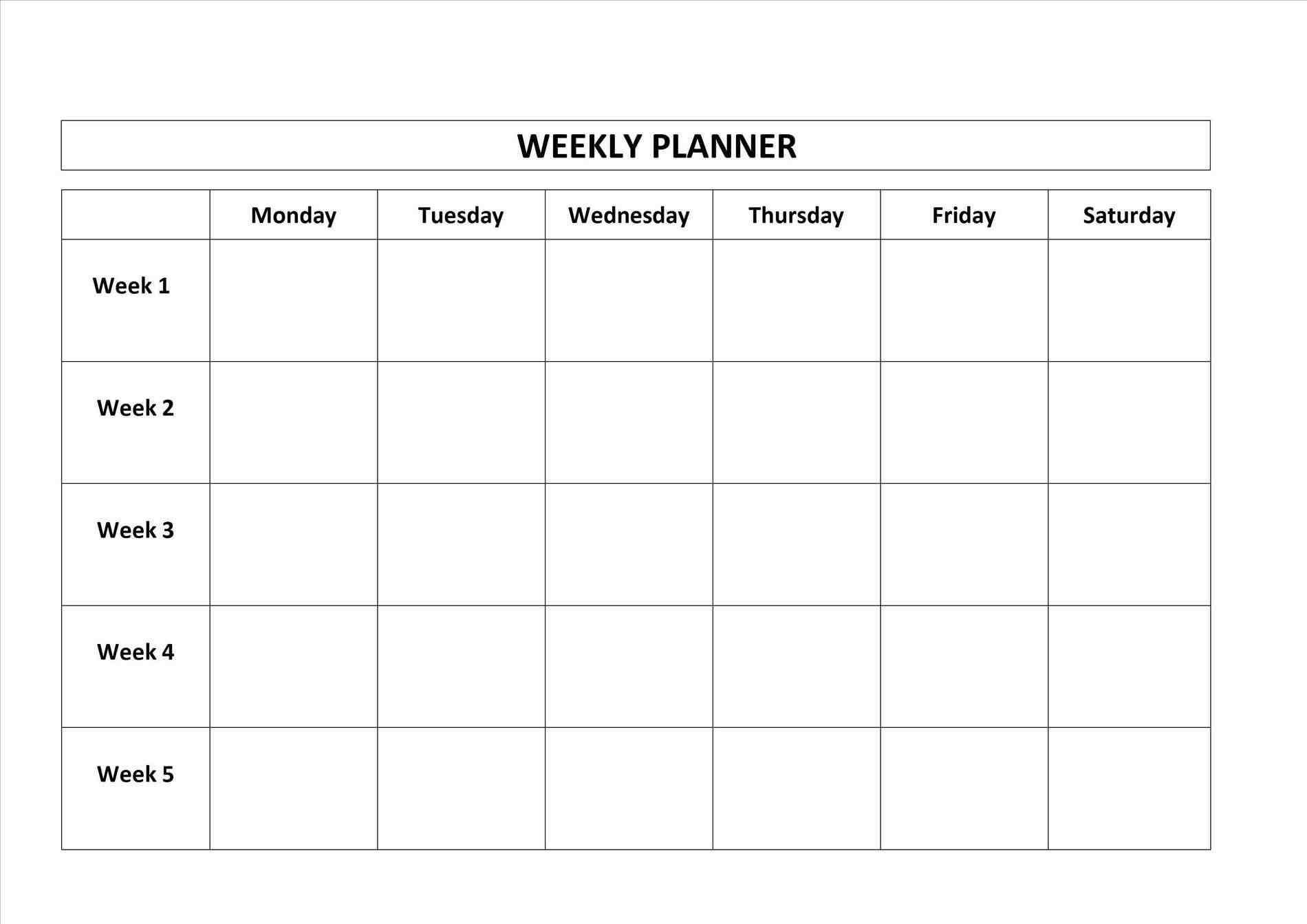 Blank Monday Through Friday Template | Calendar Template pertaining to Printable Monday Through Friday Calendar
