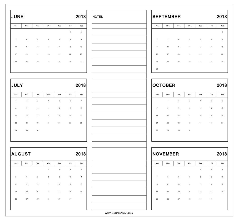 Blank Six Month Calendar Printable | Example Calendar inside 6 Month Printable Calendar