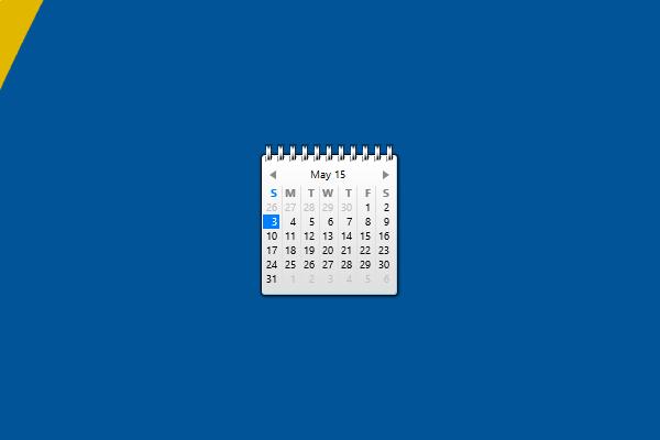 Blue Calendar Windows 10 Gadget  Win10Gadgets regarding Windows 10 Calendar Widget
