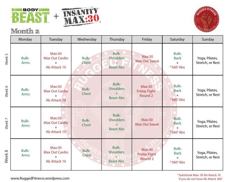 Body Beast + Insanity: Max 30 Hybrid Schedule | Insanity pertaining to Body Beast Insanity Max 30 Hybrid