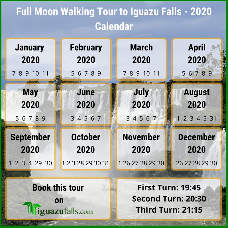 Book Full Moon Walking Tour To Iguazu Falls (20202021) in Lunar Calendar Puerto Rico