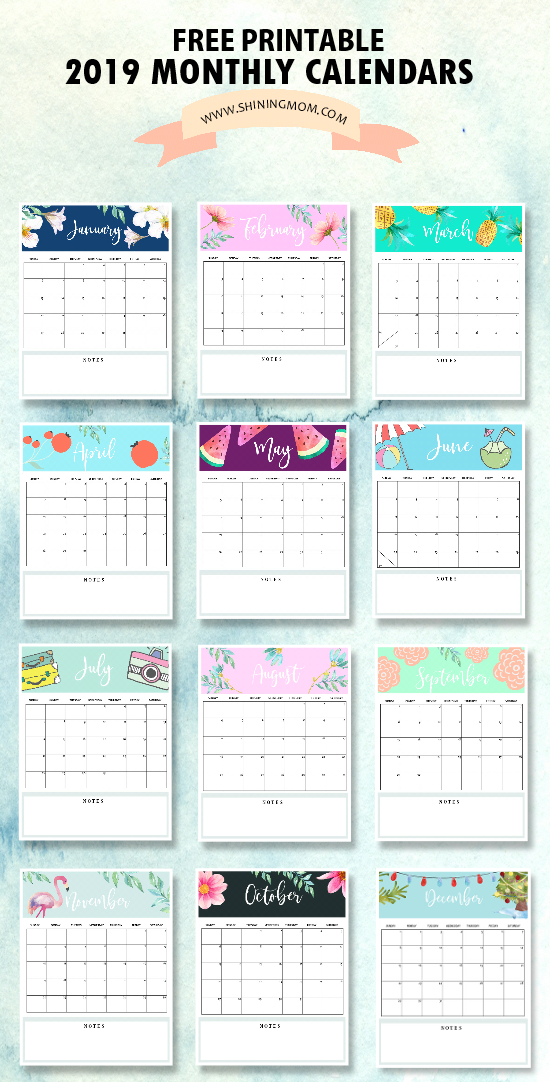 Calendar 2019 Printable: Free 12 Monthly Calendars To Love! pertaining to Blank Instagram Template 2018