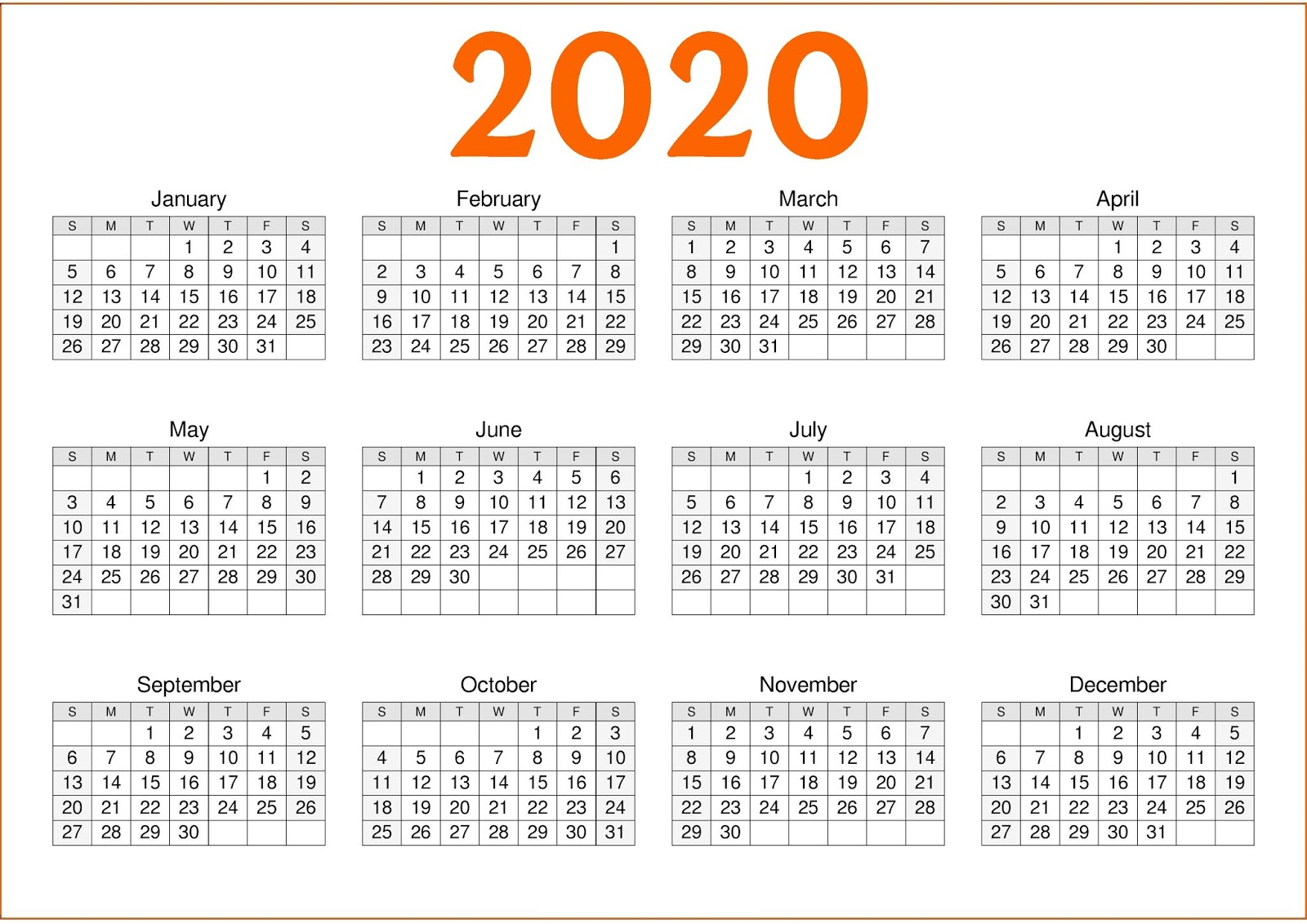 Calendar 2020 1 Page | Calendar Printables Free Templates within Calendar Template 12 Months One Page