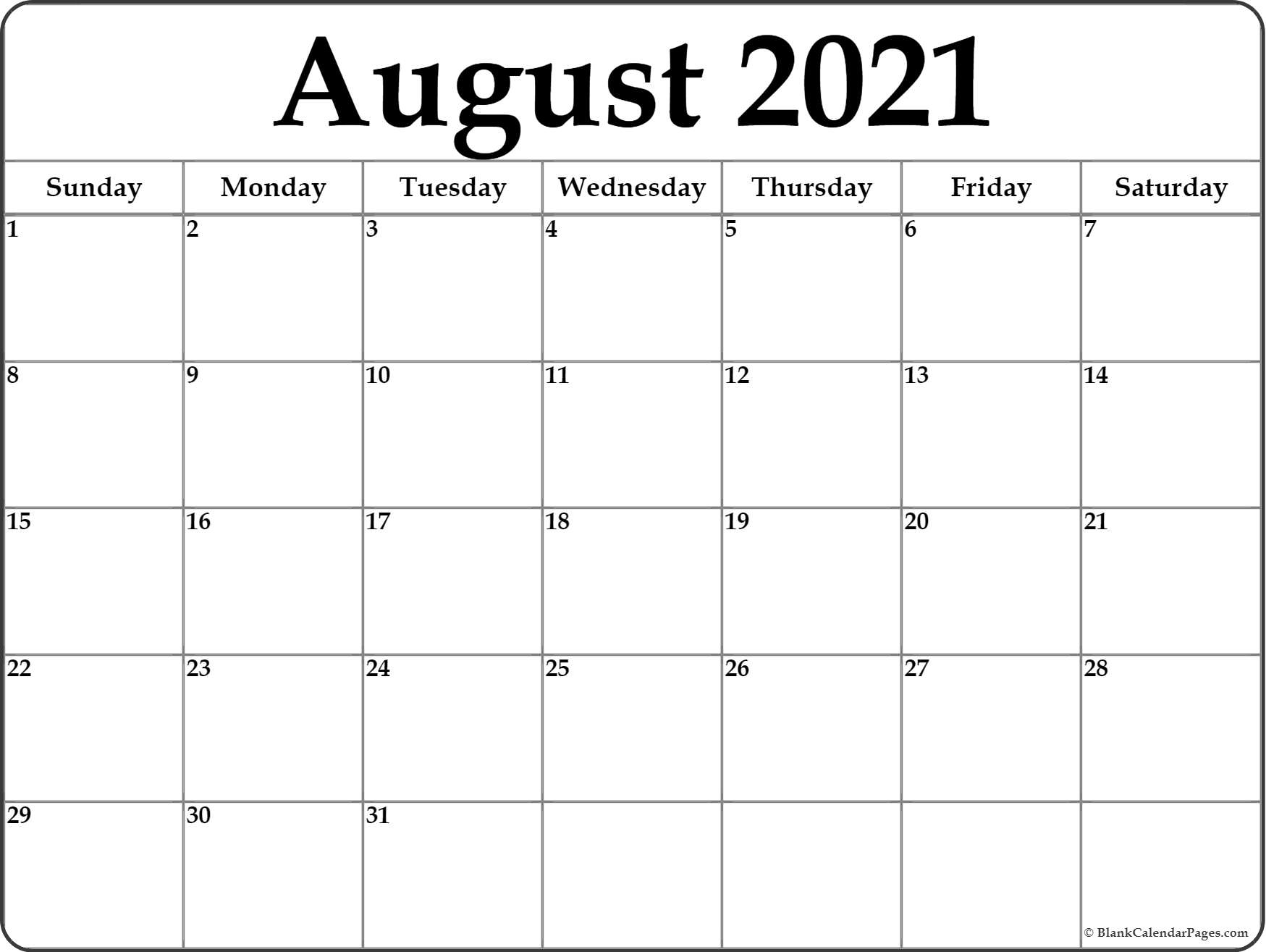 Calendar 2021 Monthly | Get Free Calendar with Free Calendar Template August 2021