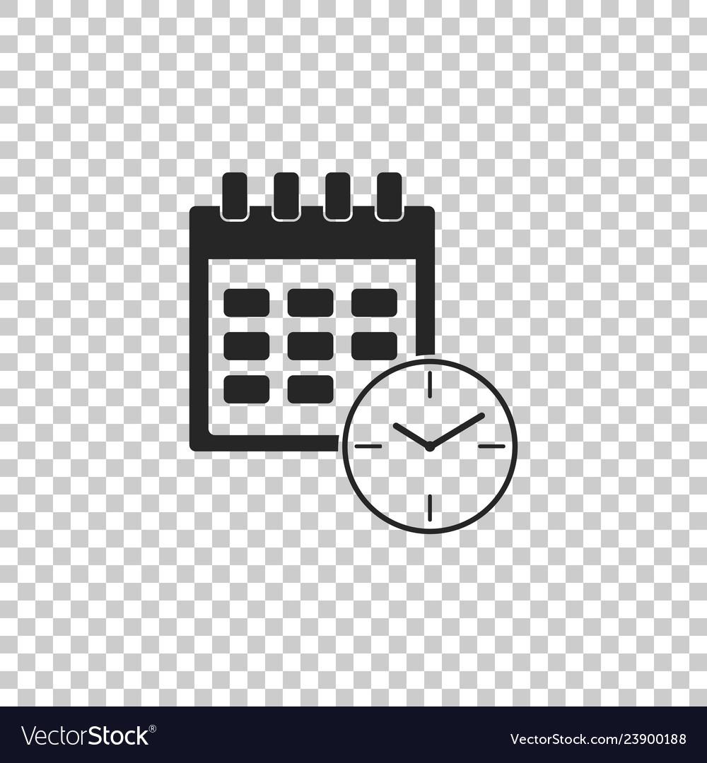 Calendar And Clock Icon On Transparent Background Vector Image regarding Google Calendar Icon Vector