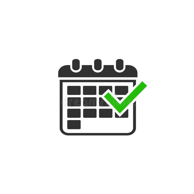 Calendar And Tick Stock Illustration. Illustration Of Time inside Calendar Icon Green