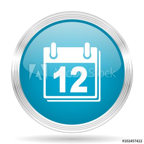 """Calendar Blue Glossy Metallic Circle Modern Web Icon On throughout Calendar Circle Icon"